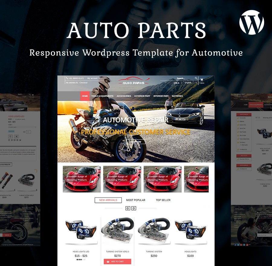 Auto Parts Free Website Template and WordPress Theme
