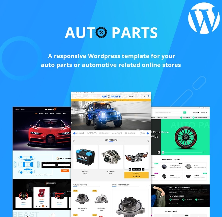 Auto Parts WordPress Pro Theme, Automotive WordPress Templates