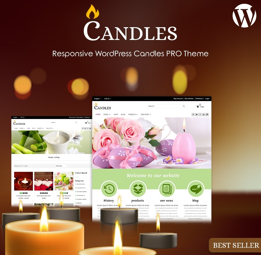 Candles WordPress Theme, Candles WordPress Templates | Webcodemonster
