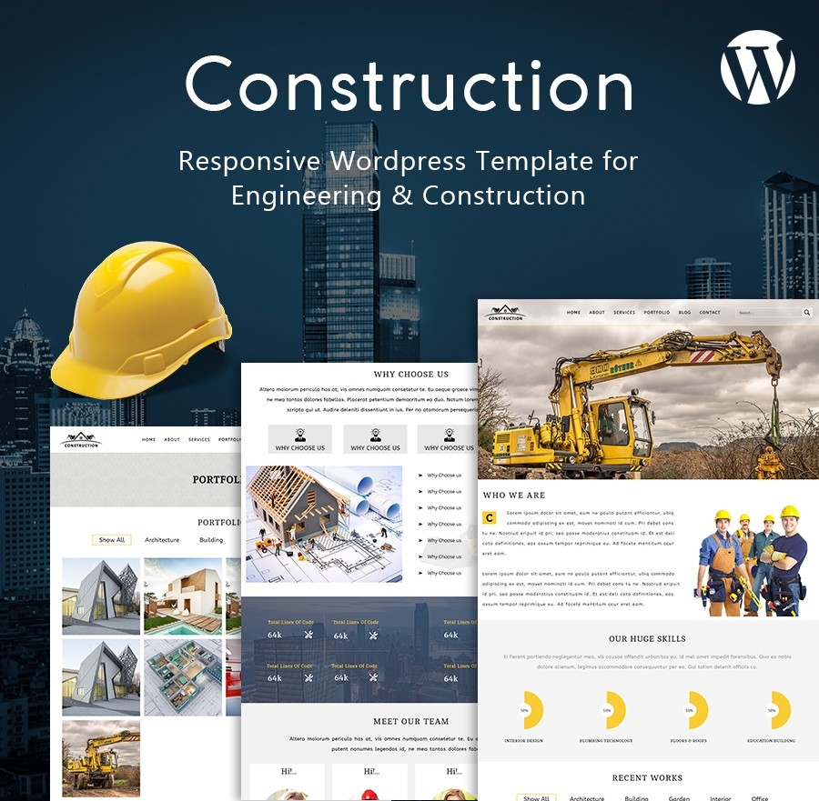Free, Responsive Construction Website | Wordpress Template  - Webcodemonster