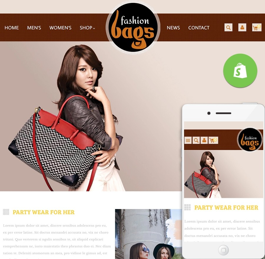 Free Fashion Bags Shopify Template - Fashion & LifeStyle Website Templates