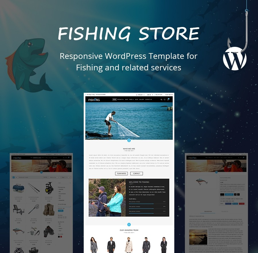 Free Fishing WordPress Template - Webcodemonster Website Templates