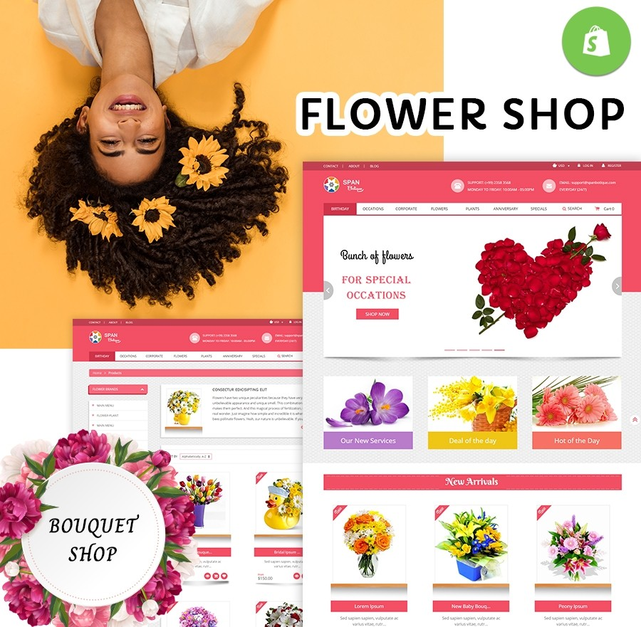 Free Shopify Theme Flower Shop Template - Webcodemonster