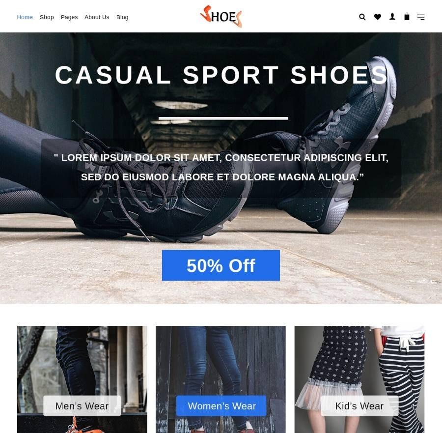 Footwear Website Templates, Sneaker Shopify Themes | Webcodemonster