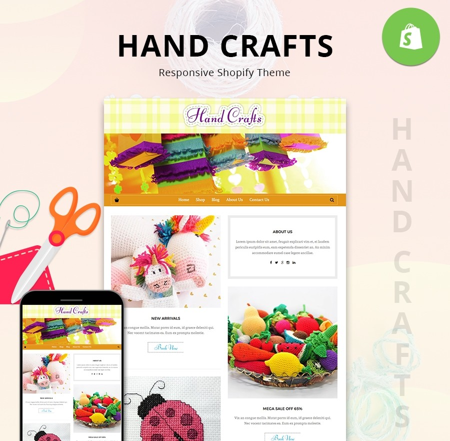 Hand Crafts Shopify Theme, Hand Crafts Website Templates