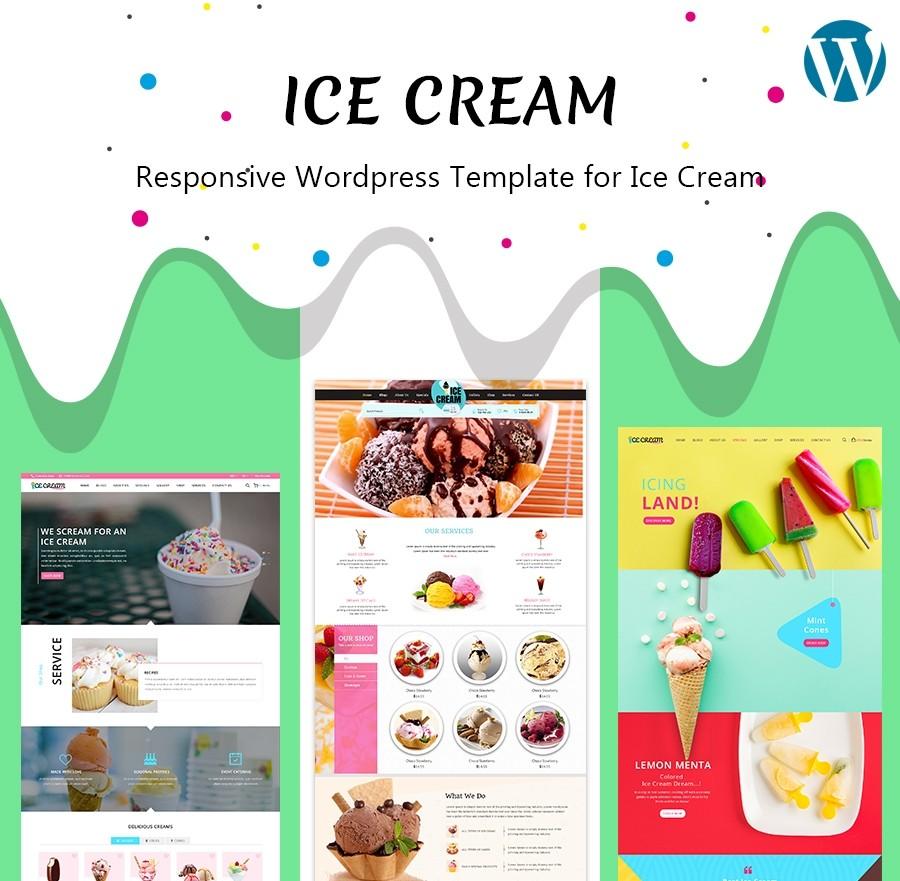 Free Ice Cream WordPress Theme, Ice Cream Parlour Template