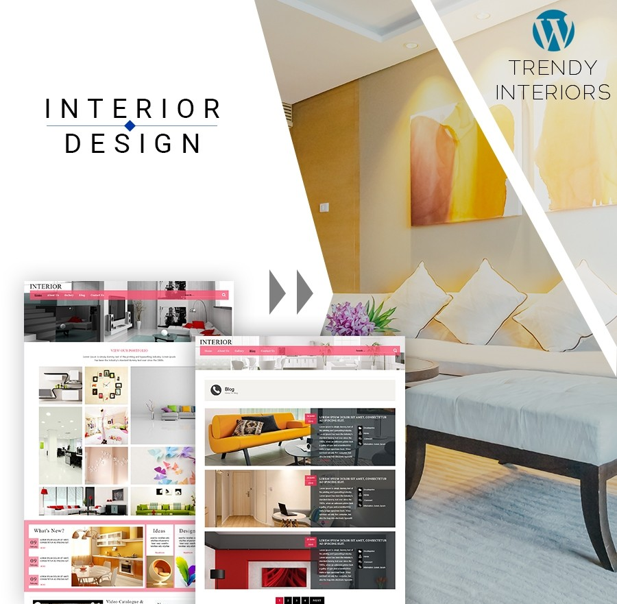 Free Interior Design WordPress Template - Webcodemonster Website Template