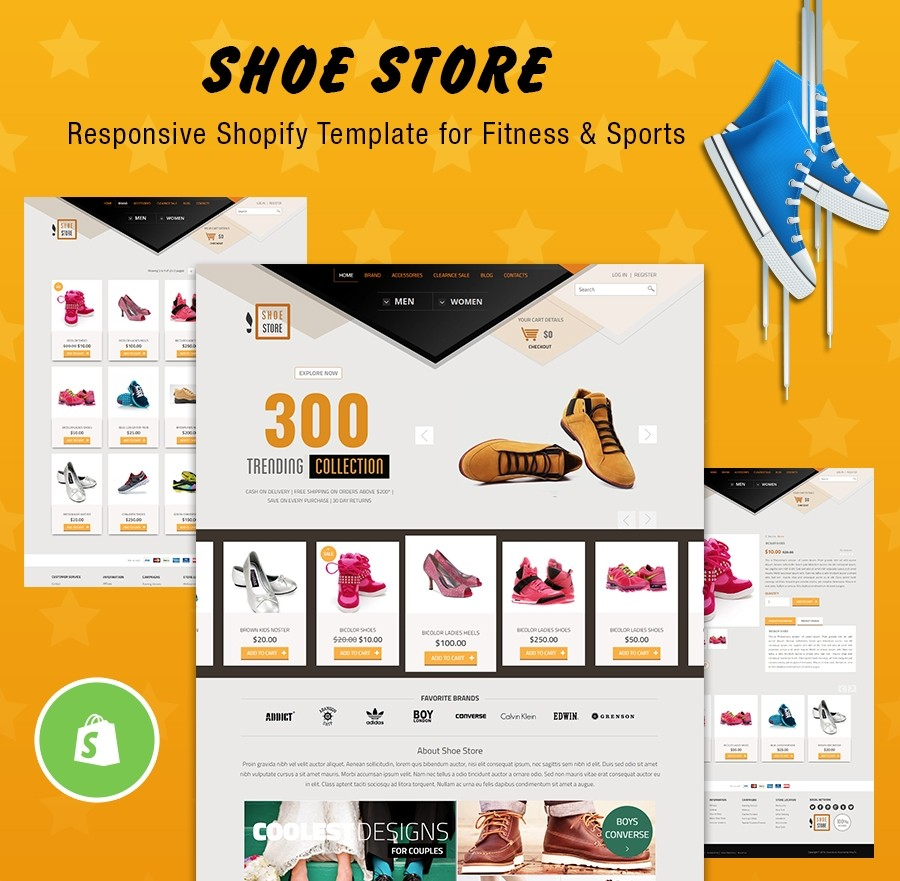 ShoeStore - Free, Responsive Shopify Template for Fitness & Sports category