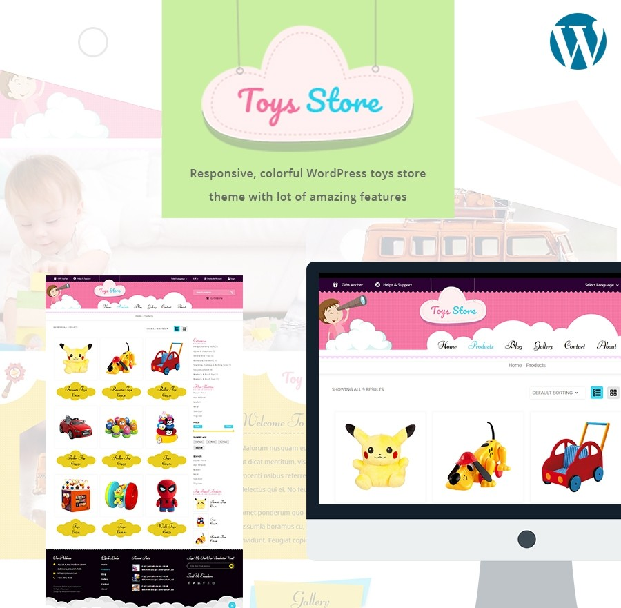 Responsive WordPress Toys Store Theme - Webcodemonster PRO Themes