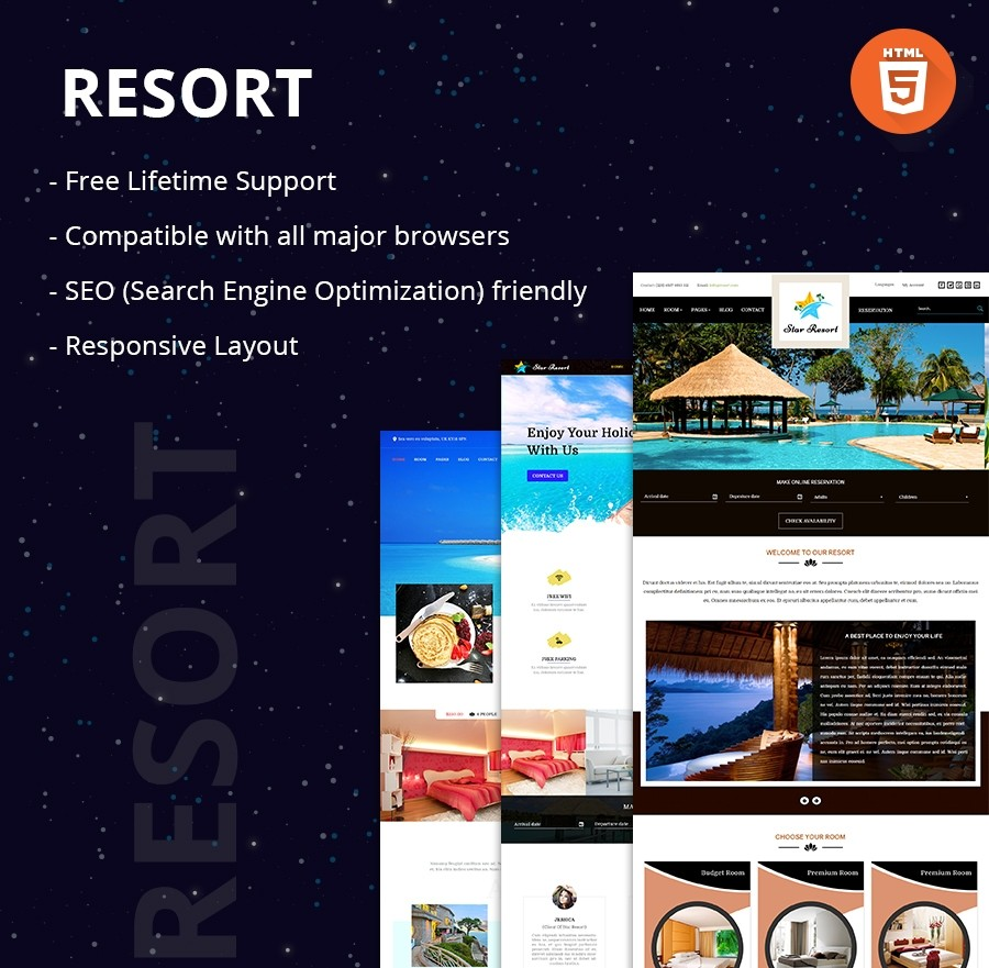 Holiday Vacation Resort HTML Website Template