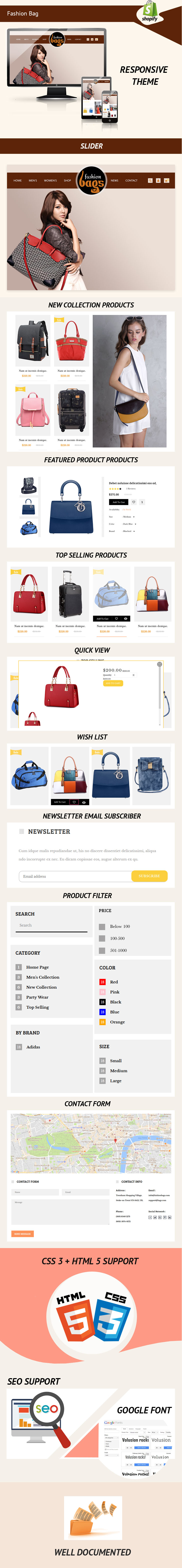 Fashion Bags Website Template - Shopify Theme